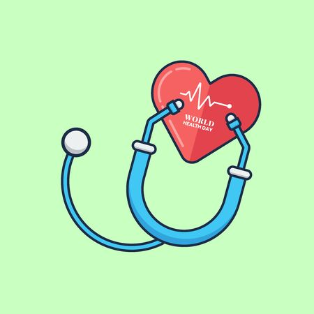 Simple Vector Flat Illustration World Health Day with Stethoscope and Heart Perfect for Web Banner, Brochure, Social Media Content, and etc.