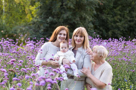 mom holding baby: Four generations of women in a beautiful lavender field