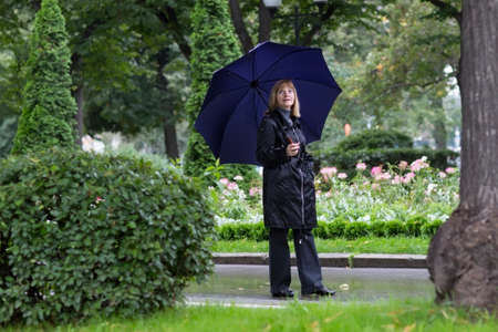 rainy day: Elegant lady walking in a beautiful park under umbrella on a cold rainy day  Stock Photo