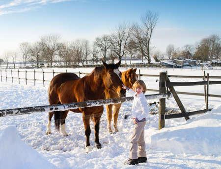 Boy playing with horses on a sunny winter day  photo