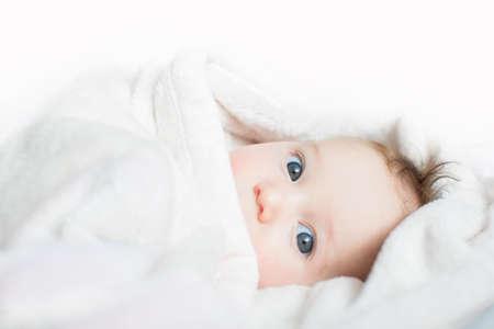 peekaboo: Funny baby playing peek-a-boo