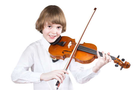 School boy playing violin, isolated on white Stock Photo - 29661360