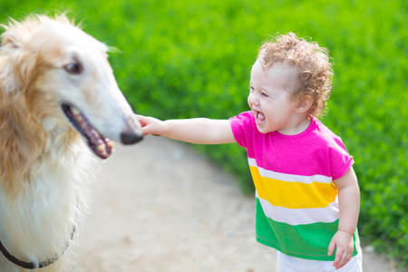 babies laughing: Happy laughing baby playing with a big dog
