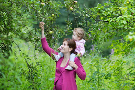 Young pregnant mother walking in an apple garden with her one year old baby daughter on a cold autumn day  photo