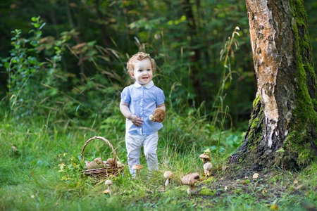 boletus: Beautiful laughing baby girl having fun gathering mushrooms in a forest on a warm sunny day in autumn  Stock Photo