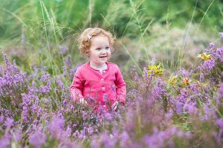petites fleurs: Belle petite fille marchant dans les fleurs d'automne pourpre dans un paysage de landes sur une belle journ�e d'automne
