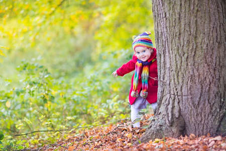 hide and seek: Sweet funny baby girl in a red coat and colorful hat and knitted scarf hiding behind a big old tree in a beautiful autumn park with yellow leaves  Stock Photo
