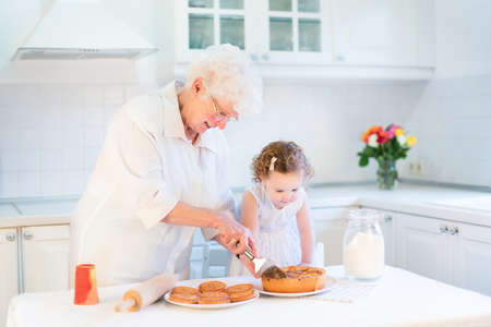 Loving grandmother baking an apple pie with her adorable toddler granddaughter in a beautiful white kitchen   photo