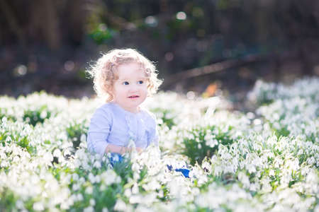 early summer: Beautiful curly laughing toddler girl playing with first spring flowers in a beautiful spring sunny park   Stock Photo