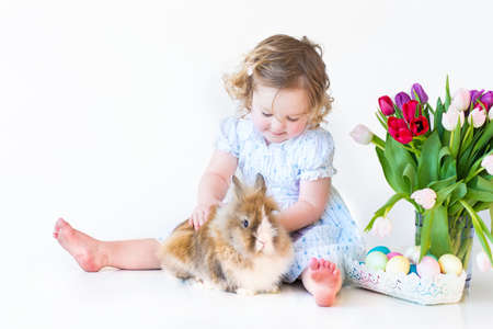 Cute toddler girl playing with a bunny next to a basket with Easter eggs and tulip flowers   photo
