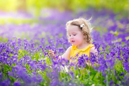 Adorable toddler girl with curly hair wearing a yellow dress playing with purple bluebell flowers in a sunny spring forest on a warm evening with beautiful sunset