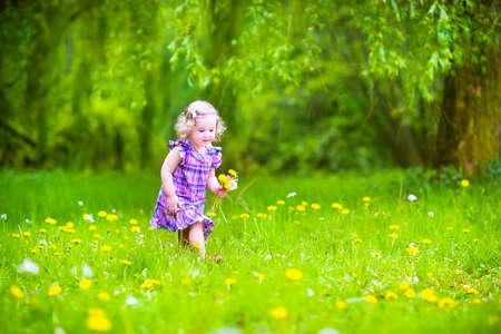 Muchacha adorable del niño con el pelo rizado que llevaba un vestido de color rosa jugando con los dientes de león amarillos en un jardín de primavera en flor en un día soleado de verano Foto de archivo - 30855707