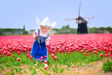 Rozkošný kudrnaté batole dívka, která nosí tradiční holandské národní kostým šaty a klobouk hrát v poli rozkvetlých tulipánů vedle větrný mlýn v Amsterdamu regionu, Holandsko, Nizozemsko Reklamní fotografie