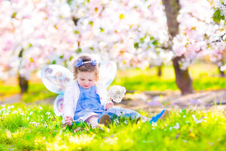 little girl dress: Adorable toddler girl with curly hair and flower crown wearing a magic fairy costume with a blue dress and angel wings playing in a sunny blooming fruit garden with cherry blossom and apple trees Stock Photo