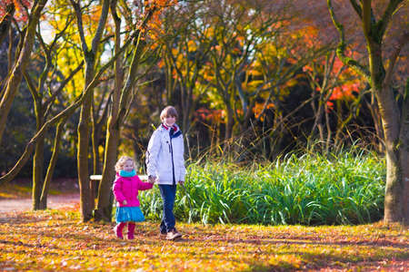 Two happy children, school boy and a little girl, brother and sister, walking together in a sunny autumn park with colorful maple and oak trees photo