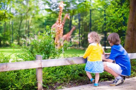 Happy school boy und sein Kleinkind Schwester niedliche kleine Mädchen mit dem lockigen Haar trägt ein Kleid, das Spaß zusammen in einem Zoo beobachten Giraffen und andere Tiere auf einem Tagesausflug in den Sommerferien Standard-Bild - 34178992