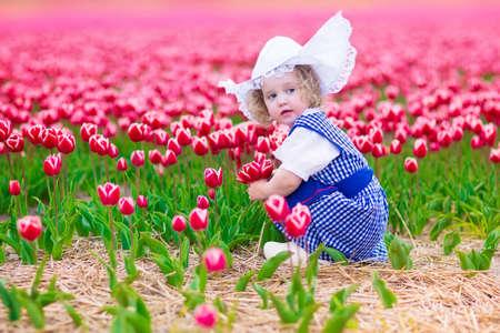 Schattig krullend peuter meisje dragen van Nederlandse traditionele klederdracht jurk en hoed spelen in een veld van bloeiende tulpen naast een windmolen in regio Amsterdam, Holland, Nederland Stockfoto