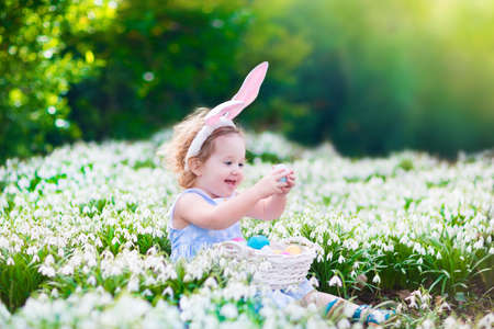 egg white: Adorable curly toddler girl wearing bunny ears playing with Easter eggs in a white basket sitting in a sunny garden with first white spring flowers