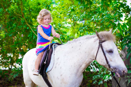 pony: Cute little toddler girl having fun on a horse ride enjoying family trip to a zoo on a hot summer day Stock Photo