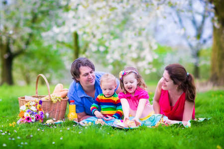 eating in the garden: Young family with kids having picnic outdoors. Parents with two children relax in a blooming summer garden. Mother, father, little girl and baby boy eat sandwich and fruit, drink juice for healthy lunch in a park.