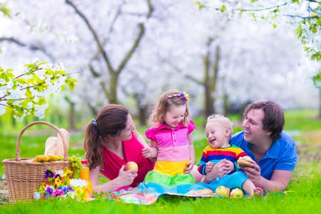eating pastry: Young family with kids having picnic outdoors. Parents with two children relax in a blooming summer garden. Mother, father, little girl and baby boy eat sandwich and fruit, drink juice for healthy lunch in a park.