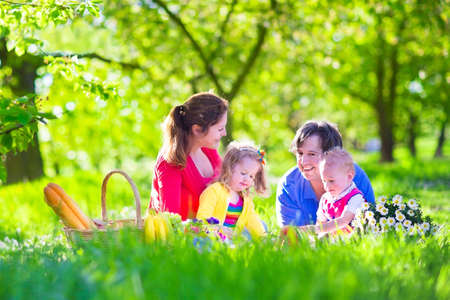 Young family with kids having picnic outdoors. Parents with two children relax in a sunny summer garden. Mother, father, little girl and baby boy eat sandwich and fruit, drink juice for lunch in park
