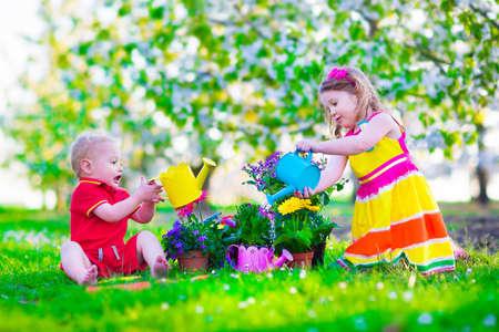 Niños jardinería. Niños que juegan al aire libre. Niña y niño, hermano y hermana, que trabaja en el jardín, plantando flores, regando cama de flores. Familia en floración huerto de árboles frutales. Las vacaciones de verano en una granja. Foto de archivo - 39793115
