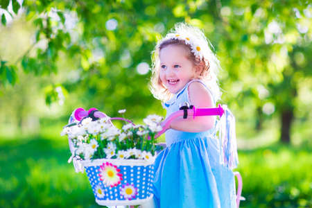 preschool: Happy child riding a bike. Cute kid biking outdoors. Little girl in a blue dress on a pink bicycle with daisy flowers in a basket. Healthy preschool children summer activity. Kids playing outside. Stock Photo