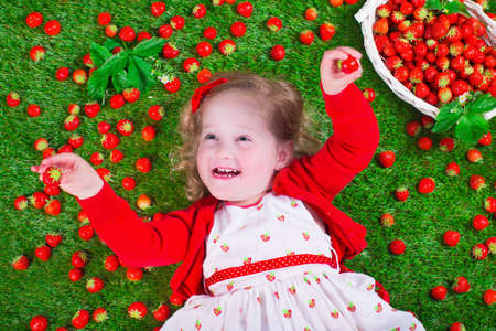 peek: Child eating strawberry. Little girl playing peek a boo holding fresh ripe strawberries. Kids eating fruit relaxing on a lawn. Children summer fun on a farm picking berry. Stock Photo