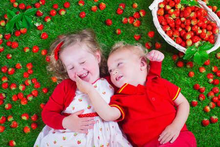 canastas con frutas: Niño que come la fresa. La niña y el juego del bebé y comer fresas maduras frescas. Niños con la fruta se relaja en un césped. Los niños la diversión del verano en una recolección de bayas granja.