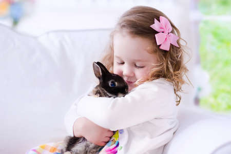 hugs and kisses: Child playing with a real rabbit. Kids play with pets. Little girl holding bunny. Children and animals at home or preschool. Cute curly toddler kid hugs her pet animal. Preschooler feeding rabbits. Stock Photo