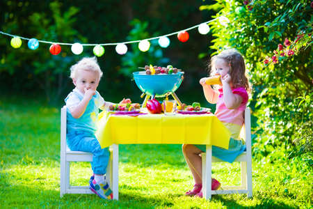 backyard woman: Children grilling meat. Family camping and enjoying BBQ. Brother and sister at barbecue preparing steaks and sausages. Kids eating grill and healthy vegetable meal outdoors. Garden party for child. Stock Photo