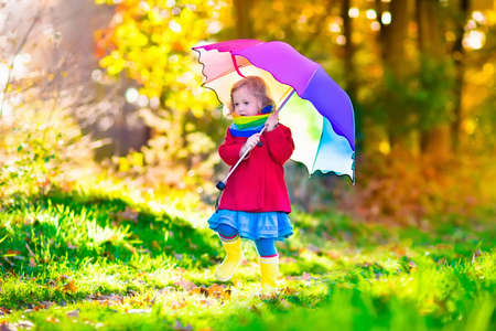 Little girl playing in the rain in autumn park. Child holding umbrella walking in the forest on a sunny fall day. Children playing outdoors with yellow maple leaf. Toddler girl picking golden leaves.