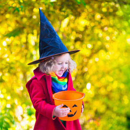 trick or treat: Little girl in witch costume playing in autumn park. Child having fun at Halloween trick or treat. Kids trick or treating.  Toddler kid with jack-o-lantern. Children with candy bucket in fall forest.