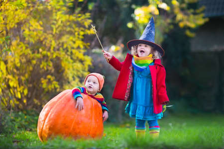 trick or treating: Little girl in witch costume and baby boy in huge pumpkin playing in autumn park. Kids at Halloween trick or treat. Toddler with jack-o-lantern. Children with candy bucket in forest. Stock Photo