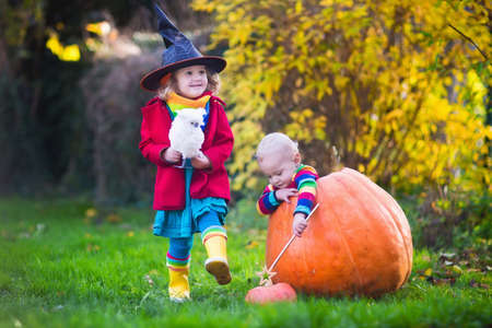 treating: Little girl in witch costume and baby boy in huge pumpkin playing in autumn park. Kids at Halloween trick or treat. Toddler with jack-o-lantern. Children with candy bucket in forest. Stock Photo