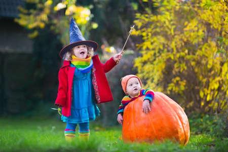 dynia: Mała dziewczynka w stroju czarownicy i chłopca w ogromnej gry dyni w parku jesienią. Dzieci w sztuczki Halloween lub leczenia. Maluch z Jack-o-lantern. Dzieci z cukierkami wiadra w lesie.