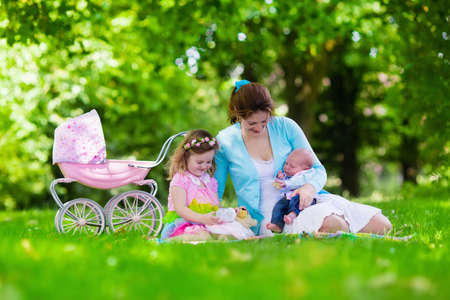 mum and daughter: Family with children enjoying picnic outdoors. Mother with newborn baby and toddler child relax in a park. Little girl playing with toy stroller. Mom and kid play with infant boy. Kids birthday party.