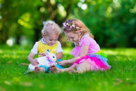 play: Children play with real rabbit. Brother and sister at Easter egg hunt with white pet bunny. Little baby boy and toddler girl playing with animal in the garden. Summer outdoor fun for kids with pets. Stock Photo