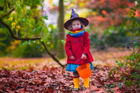 wiedźma: Mała dziewczynka w stroju czarownicy grając w parku jesienią. Zabawy dla dzieci na Halloween-trick or treat. Dzieci trick lub leczenia. Dzieciak Maluch z Jack-o-lantern. Dzieci z cukierkami wiadra na jesień las.