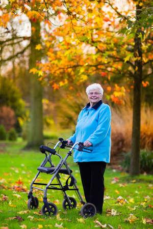 silla: Señora feliz minusválidos mayor con una discapacidad para caminar disfrutando de un paseo en un parque otoño empujando su andador o silla de ruedas. Ayuda y soporte durante la jubilación. Paciente de hogar de ancianos o centro de atención. Foto de archivo