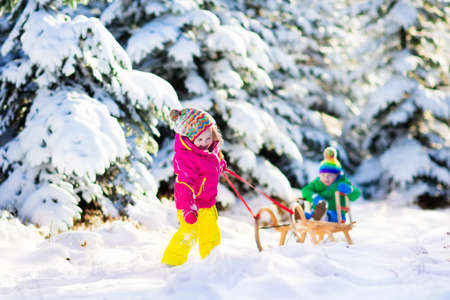 winter vacation: Little girl and boy enjoying sleigh ride. Child sledding. Toddler kid riding a sledge. Children play outdoors in snow. Kids sled in snowy park in winter. Outdoor fun for family Christmas vacation.