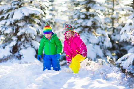 twin sister: Children play in snowy forest. Toddler kids outdoors in winter. Friends playing in snow. Christmas vacation for family with young children. Little girl and boy in colorful jacket and knitted hat. Stock Photo