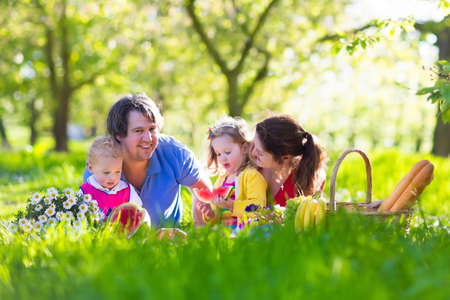 Family with children enjoying picnic in spring garden. Parents and kids having fun eating lunch outdoors in summer park. Mother, father, son and daughter eat fruit and sandwiches on colorful blanket. Zdjęcie Seryjne