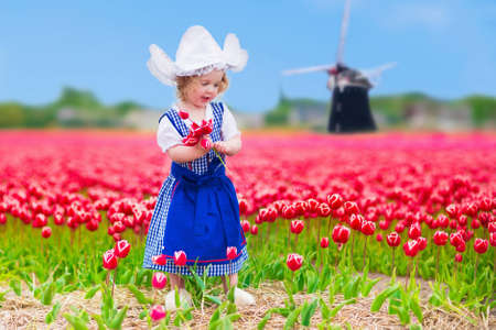 Adorable curly toddler girl wearing Dutch traditional national costume dress and hat playing in a field of blooming tulips next to a windmill in Amsterdam region, Holland, Netherlands Archivio Fotografico