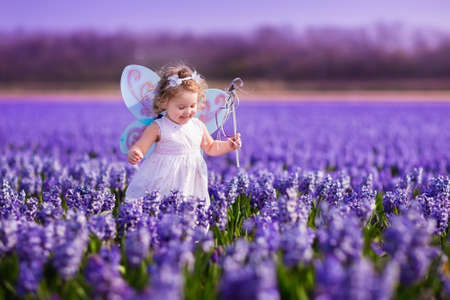 Cute curly little girl in flower crown and fairy costume with wings and magic wand playing in hyacinth field in Holland. Child running in purple flowers. Kids gardening. Children on Easter egg hunt. Stock Photo