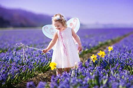 preschooler: Cute curly little girl in flower crown and fairy costume with wings and magic wand playing in hyacinth field in Holland. Child running in purple flowers. Kids gardening. Children on Easter egg hunt. Stock Photo
