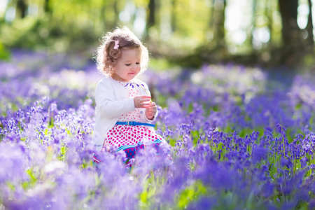 Little girl playing in sunny blooming garden. Baby on Easter egg hunt in blue bell flower meadow. Toddler child picking bluebell flowers. Kids play outdoors. Spring fun for family with children. Imagens