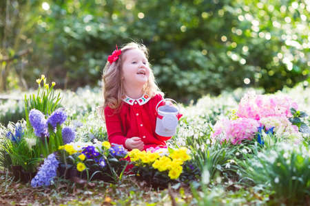 Niño Plantar Flores De Primavera En El Jardín Soleado. Pequeño ...
