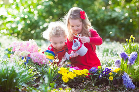 种植春天花的孩子在晴朗的庭院里。小男孩和女孩花匠植物风信花,黄水仙,在花床上的snowdrop。园艺工具和水可以为孩德赢体育子们。在后院工作的家庭。